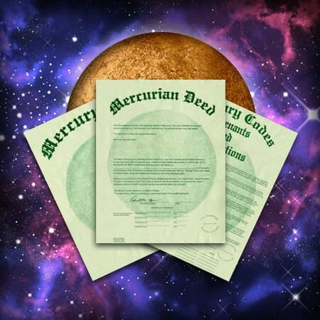 Buy Mercury Land, Mercurian Deed